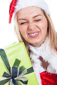 Closeup of funny Christmas woman — Stock Photo