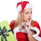 Worried Christmas woman — Stock Photo