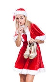 Secret Christmas woman with shoes — Stock Photo