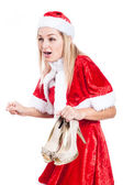 Shocked Christmas woman with shoes — Stock Photo
