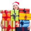 Thankful Christmas woman with presents — Stock Photo