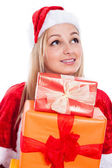 Beautiful Christmas woman with presents — Stock Photo