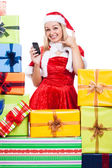 Happy Christmas woman going to call you — Stock Photo