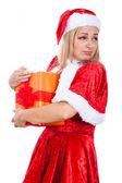 Greedy Christmas woman — Stock Photo