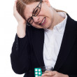 Stock Photo: Businesswomwith headache