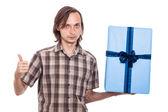 Homem sério com grande presente — Foto Stock