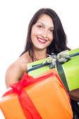 Happy woman giving present — Stock Photo