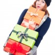 Funny woman with many presents — Stock Photo #31174233