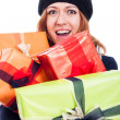Ecstatic woman with many presents — Foto Stock