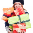 Satisfied woman with many presents — Stock Photo
