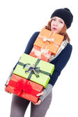 Funny woman with many presents — Stock Photo