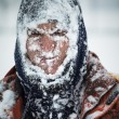 Man in snow — Stockfoto