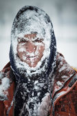 Man in snow — Stock Photo