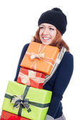 Happy woman with many presents — Stock Photo
