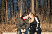 Young couple dating outdoors — Stock Photo
