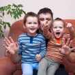 Happy children boys laughing with daddy — Stock Photo #48175715