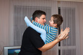 Playful father and child boy — Stock Photo