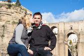 Couple in love enjoying sunny autumn day in Ronda — Stock Photo