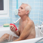 Senior man bathing — Stock Photo #51065817
