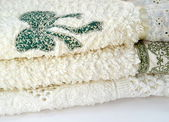Set embroidered towels with starfish — Stock Photo