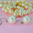 Pearl Earrings with necklace — Stock Photo