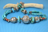 Silver necklace with turquoise — Stok fotoğraf