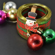 Ribbon, balls and Christmas decorations — Stock Photo