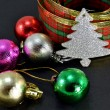 Christmas balls and decorative  ribbon — Stock Photo