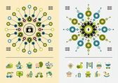 Icons and symmetric infographics — Stock Vector