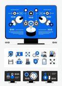časopis infografiky a ikony — Stock vektor
