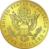 Vector American Money, gold Dollar with the image of eagle — Stock Vector