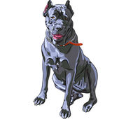 Vector sketch black Cane Corso smiling, Italian breed of dog — Stock Vector