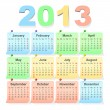 Vector 2013 calendar design - week starts with sunday — Stock Vector