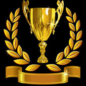 向量组赢得成功黄金杯、 月桂花冠和闪亮的 r — 图库矢量图片