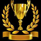Vector ingesteld winnende succes gouden cup, lauwerkrans van caesar en een glanzende r — Stockvector