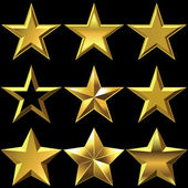 Vector set of golden shiny stars bulk — Stock Vector