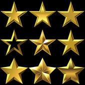 Vector set of golden shiny stars bulk — Stock Vector