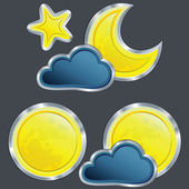 Vector set of an icons of the weather night with moon and star — Stock Vector