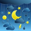 Vector background with night weather icon — Stock Vector #14247091