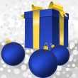 Vector blue gift box with gold ribbon bow and christmas balls — Stock Vector