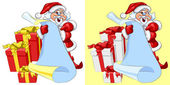 Vector Santa Claus with a scroll and Christmas gifts — Stock Vector