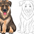 Vector Coloring Book of smiling Puppy dog German shepherd — Stock Vector