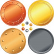Stock Vector: Vector Set of gold, silver, bronze coins.