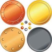 Vektor-satz von gold, silber, bronze-münzen. — Stockvektor