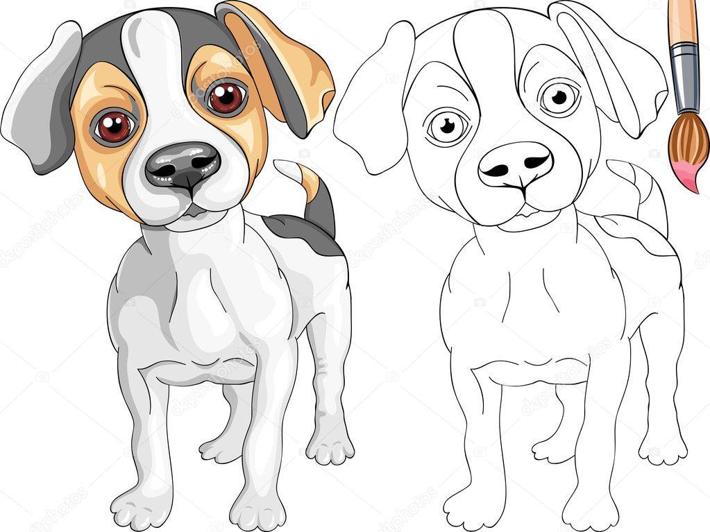 Вектор раскраска улыбаясь щенка собака Джек-Рассел терьер ...