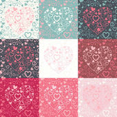 Vector set of seamless pattern with colorful hearts — Stock Vector