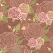 Vector pastel floral seamless pattern with flower roses — Stock Vector
