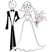 Vector sketch of a couple in love: the bride and groom — Stock Vector