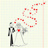 Vector couple in love: the bride and groom at the piece of scrap — Stock Vector