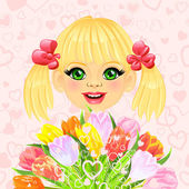 Vector pretty sweet girl with a festive bouquet of flowers — Stock Vector